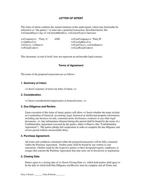 Letter of Intent Agreement - The Letter of Intent Agreement is - partnership letter of intent