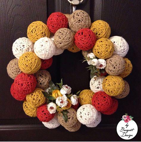 #yarnball #wreath #wreaths #yarnballs #doorornament #kapısüsü