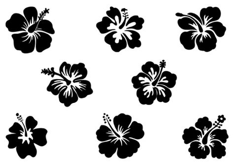 Hibiscus Flower Silhouette Vector Illustration Flower Silhouette Silhouette Clip Art Silhouette Vector