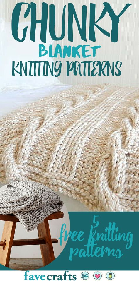 Check out this list of free knitting patterns for chunky knit blankets!                                                                                                                                                      More
