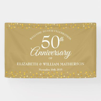 50th Anniversary Golden Love Hearts Welcome Banner Zazzle Com Anniversary Banner Welcome Banner Golden Anniversary