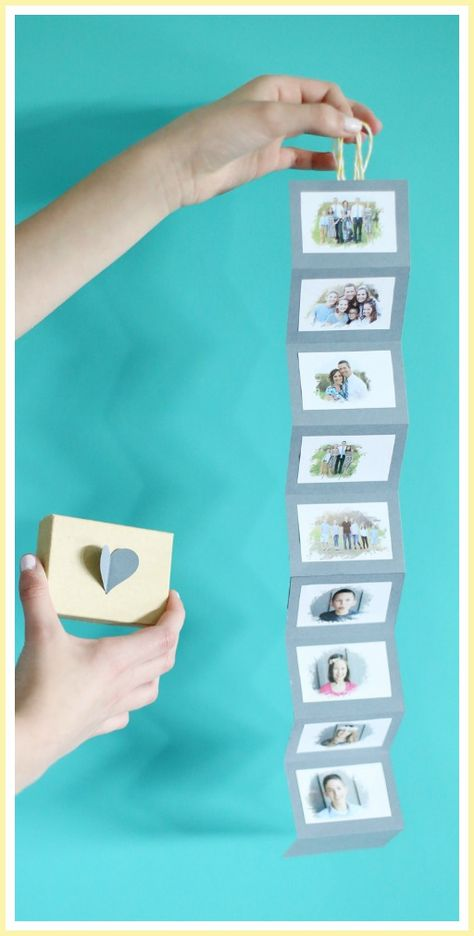 folded pictures in a box