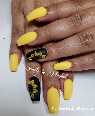 20 Simple Black Nail Art Design Ideas Naildesigns Blacknails Sunflower Nails Yellow Nails Sunflower Nail Art