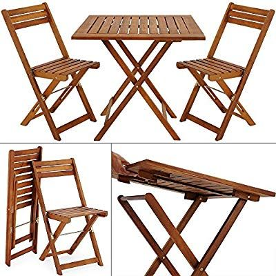 Deuba Garden Table And Chairs Bistro With 2 Folding Chairs And 1 Table Acacia Wood Amazon Co Uk Garden Mebel Dlya Balkona Stulya Dlya Patio Derevyannye Stulya