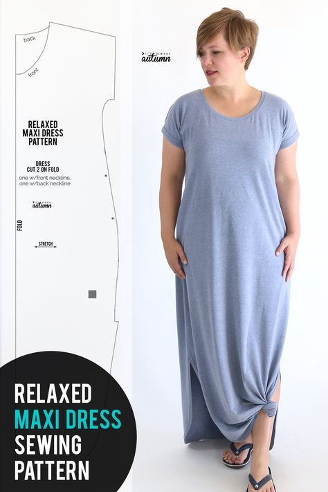 Sewing Patterns Free Easy relaxed maxi dress sewing pattern and tutorial. - Free sewing pattern and tutorial for this easy breezy relaxed maxi dress. Learn how to make a DIY maxi dress that's comfy and cool for summer! Modelos Plus Size, Sewing Hacks, Sewing Tips, Sewing Ideas, Dress Sewing Tutorials, Sewing Basics, Sewing Crafts, Diy Couture, Leftover Fabric