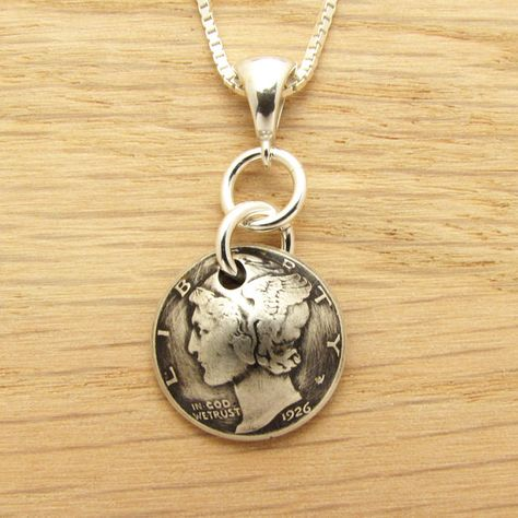 90th Birthday: 1926 US Antiqued Dime Necklace 90th Birthday Gift Coin Jewelry