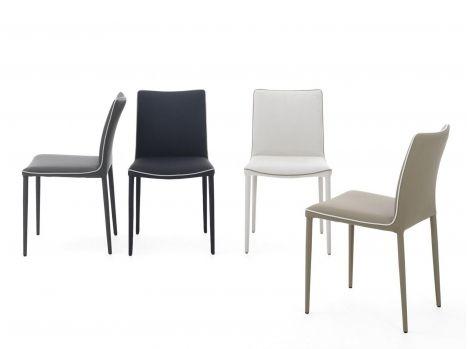 Chaise Dossier Bas Salle A Manger Cuir Design Lot Pour 4 Chaises