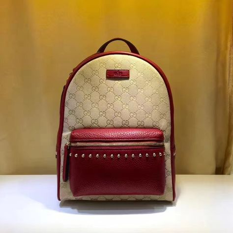 893836f1b2a Gucci GG Supreme Canvas and Studded Leather Backpack 431570 Red ...