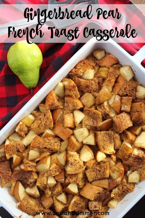 Gingerbread Pear French Toast Casserole - a delicious holiday morning casserole that is prepped the night before! All the delicious flavours of gingerbread with chopped pear for freshness, which compliments the spices well. Holiday breakfasts are so easy with this french toast casserole! #overnightfrenchtoast #christmasbreakfast #holidaybreakfast #christmasrecipes
