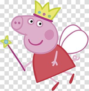 Peppa Pig Holding Wand Illustration Daddy Pig Party Peppa Pig Transparent Background Png Clipart Pig Illustration Clip Art Pig Png