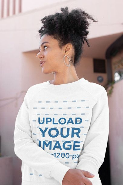 Placeit - Sweatshirt Mockup Featuring a Curly-Haired Woman Casually Posing