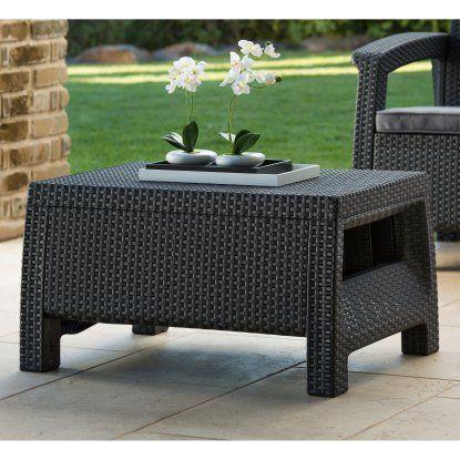 Keter Corfu Outdoor Coffee Table Grey Hayneedle Garden Patio Furniture Outdoor Coffee Tables Backyard Furniture