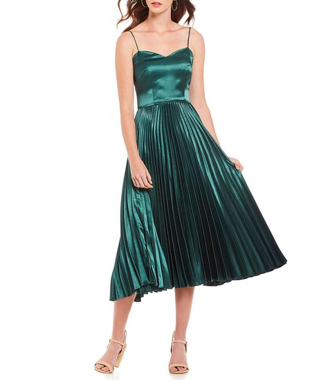f6525e95cc Shop for Gianni Bini Romee Sweetheart Neck Spaghetti Strap Satin Accordion  Pleated Midi Dress at Dillards