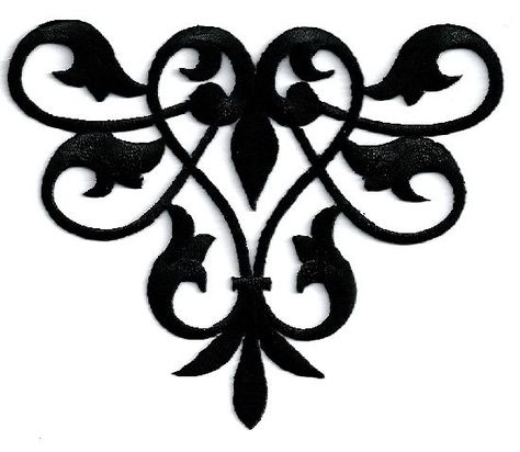 Fleur De Lis Abstract Design Crafts Black Embroidered Iron On Applique Patch