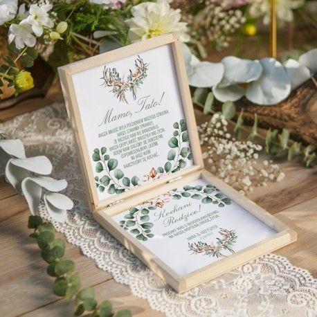 Pudelko Drewniane Prosba O Blogoslawienstwo Boho Wedding Z Imionami Place Card Holders Boho Wedding Place Cards