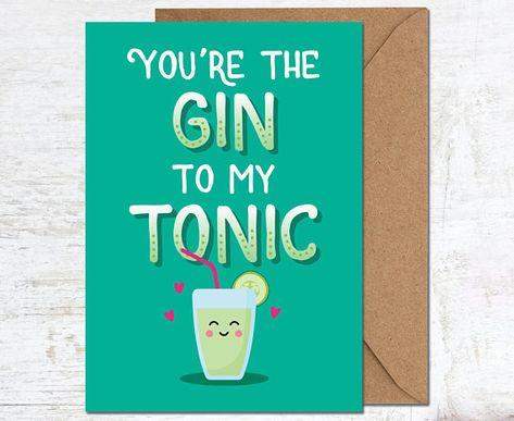 Gin Birthday Card Gin Lover Gift Funny Birthday Card Cute