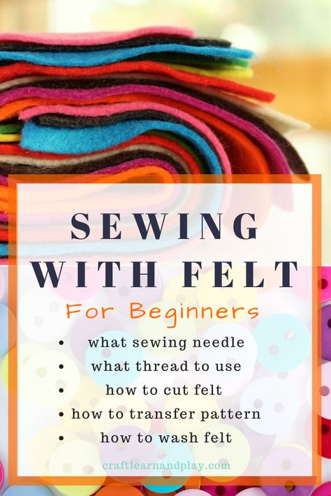 Learn basic things about how to sew felt. Ke what sewing needle use for sewing felt. At sewing thread. W to cut felt. W to transfer pattern and how to wash felt for your diy felt projects for kids. Felt Crafts Diy, Felt Diy, Sewing Crafts, Sewing Art, Clay Crafts, Fabric Crafts, Felt Embroidery, Felt Applique, Embroidery Patterns