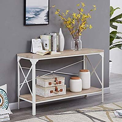Amazon Com Homissue Modern Style White Sofa Table With Storage Shelf 2 Tier Industrial Occasional Console Table For Entryway Living Room Sofa Table With Storage White Sofa Table Living Room Designs