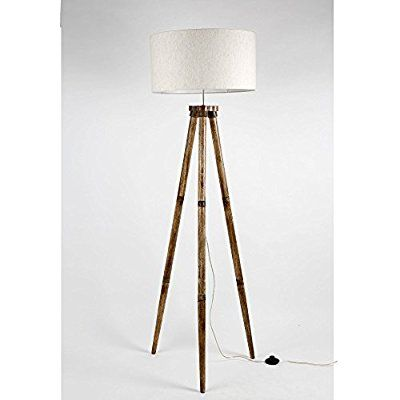 Without Shade Wooden Tripod Floor Lamp Base Only Mango Wood