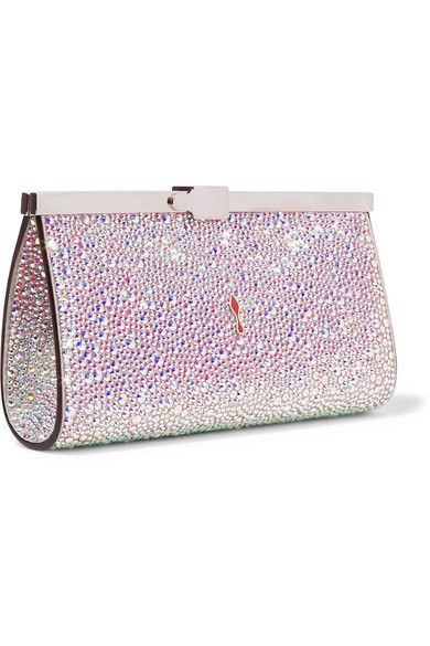 b05ee4c963a Christian Louboutin - Palmette crystal-embellished satin clutch in ...