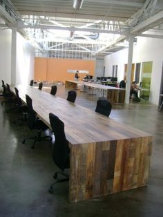 Conference Room Table Out Of Reclaimed Wood.    For Gateway Greening   With  Standing Height Small Meeting Tables Elsewhere In The Same Style.