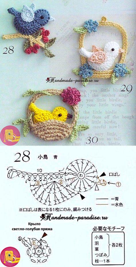 Птички крючком — Сделай сам, идеи для творчества - DIY Ideas - Salvabrani
