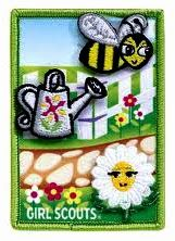 Daisy Flower Garden Journey patches.  The watering can.  Responsible for what I say and do and take care of the garden.