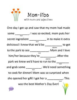 Adjectives To Describe My Mom : adjectives, describe, Mom-libs!, Great, Mother's, Mad-lib, Games,, Activities,, Mothers, Brunch