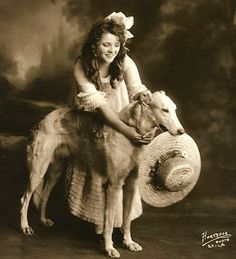 SILENT SCREEN LEGEND OLIVE THOMAS With Russian Wolfhound  PHOTO