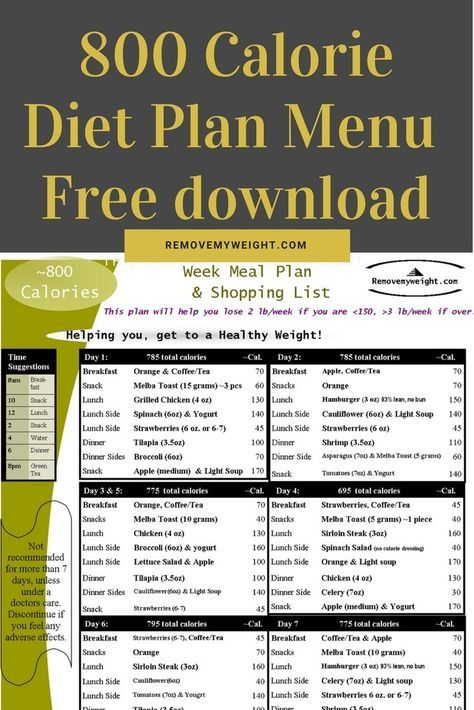 800 kcal diet