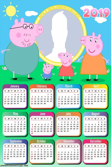 Family The Peppa Pig Calendar 2019 Frame Photo Montage Free Online