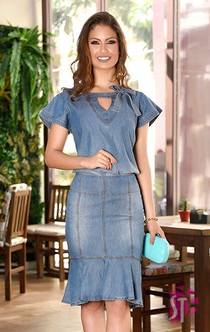 1d6dcec139255 Blusa Jeans, Saia Jeans- Conjunto jeans, blusa jeans com decote em V,