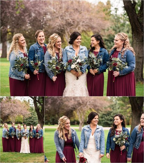 Bride and Bridesmaids Jean Jacket Wedding Party | Maddie Peschong Photography#bride #bridesmaids #jacket #jean #maddie #party #peschong #photography #wedding