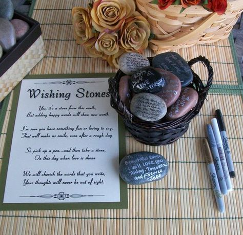 Wishing Stones - Unique Special Occasion or Wedding Guest Book Alternative - Guestbook (set of 175)