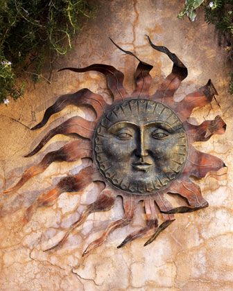 bronze art decor sun wall traditional metal outdoor god sculpture
