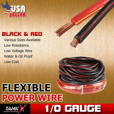 Ad Ebay Power Ground Cable Copper Clad 1 0 Gauge 10ft Total Black Red Trailer Hookup Power Wire Power Cable Wire