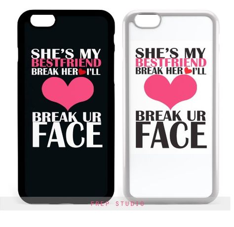 Bff summer short & tall girls if you break her heart i'll break your face best friends matching couple phone case (black:iphone 6 plus) Bff Iphone Cases, Bff Cases, Couples Phone Cases, Cheap Phone Cases, Funny Phone Cases, Cute Cases, Iphone 8, Ipod Cases, Phone Covers