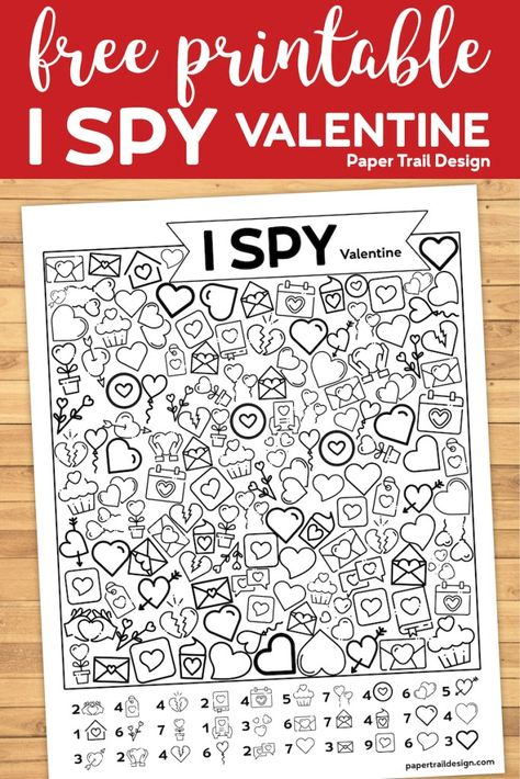 Free Printable Valentine game for kids to play at home or at school for a Valentine celebration party. Great for kids of all ages, kindergartners and older. day crafts for kindergartners Free Printable Valentine I Spy Activity - Paper Trail Design Valentine Bingo, Kinder Valentines, Valentines Games, Printable Valentine, Valentines Day Activities, Valentines For Boys, Valentines Gifts For Boyfriend, Valentines Day Party, Valentine Day Crafts