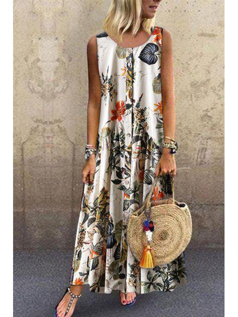 Vintage Floral Print Sleeveless Crew Neck Plus Size Dress - Orange XXL