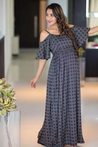 94b92f8aae9 Crystal Noir Cold Shoulder Maternity Maxi Dress