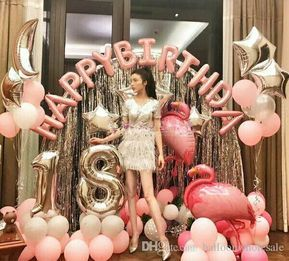 Hot Pink /& Silver Stars Age 16 Girl Foil Birthday Party Banner /& Balloons