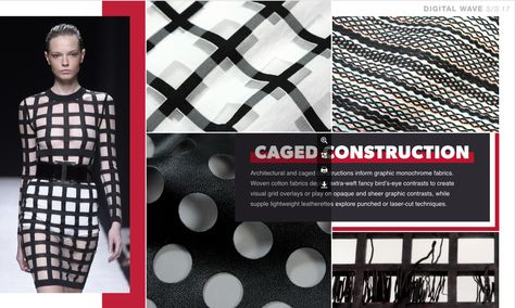 Design Direction - CAGED CONSTRUCTION - graphic monochrome woven pattern + visual grid overlay + opaque and sheer graphic contrast