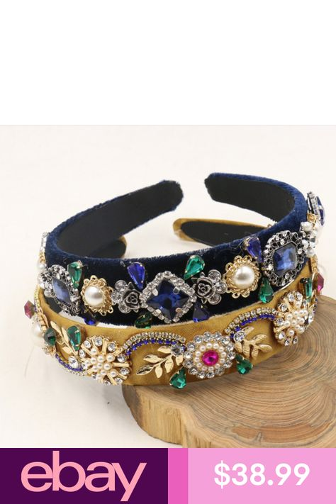 New Trend Baroque Luxury Velvet Crown Crystal Flower Hair Band Hair Jewelry Accessories Wedding Party Tiara Pearl Headband Gifts