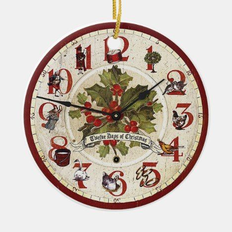 Vintage 12 Days Of Christmas Ornament Zazzle Com Christmas Clock Twelve Days Of Christmas Heart Christmas Ornaments
