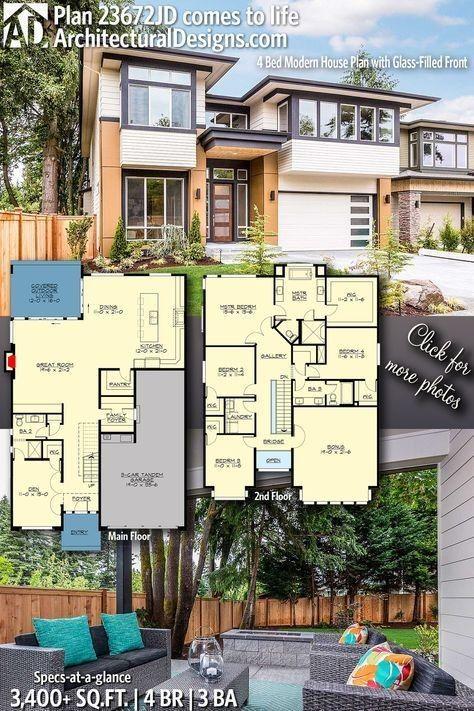 Plan 23672jd Modernes 4 Bett Haus Mit Verglaster Fassade Moderner Hausgrundriss Haus Blaupausen Moderne Home Plane