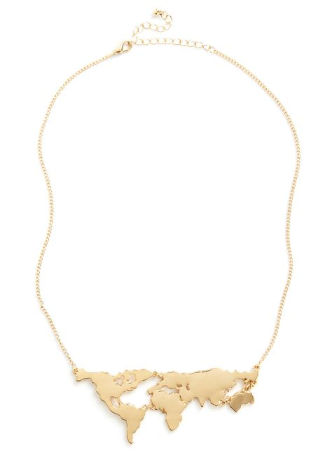 There's a Map for That Necklace - Gold, Solid, Cutout, Travel, Statement