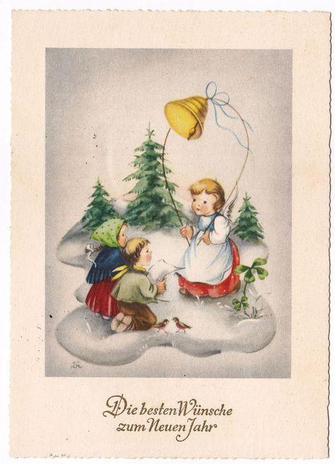 Buon Natale Anni 50.Angeli Anges Engel Buon Natale Buon Anno Augurale Anni 50