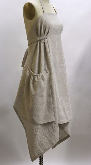 VERMONT APRON COMPANY www., showing apron pinned in place. Bias cut, pleats held by end of waist tie sewn over the pleats. Gathered pockets are just pinned in place here, but sewn down on finished apron. See front view as well. Sewing Dress, Sewing Aprons, Sewing Clothes, Linen Apron Dress, Eyelet Dress, Diy Clothing, Clothing Patterns, Apron Patterns, Loom Patterns