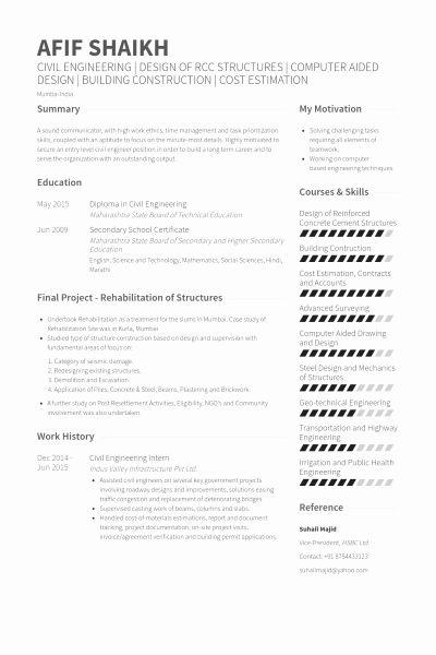 Civil Engineering Internship Resume Elegant Civil Engineering Intern Resume Example Civil Engineer Resume Engineering Resume Internship Resume