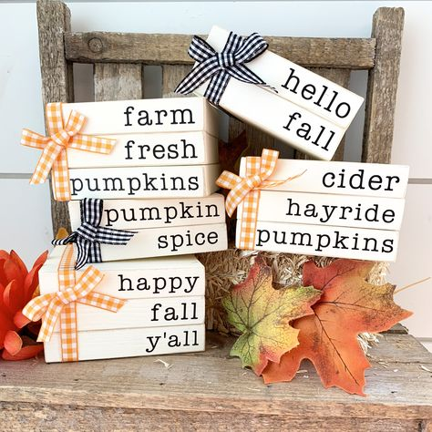 Fall mini book stacks Rae Dunn tiered tray fall farmhouse decor Always aspired to learn how to knit, yet unclear the place to begin? Old Book Crafts, Crafts To Do, Fall Crafts, Decor Crafts, Holiday Crafts, Home Decor, Fall Craft Fairs, Diy Crafts, Dyi